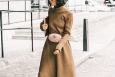 15 a tan colored midi dress with long sleeves, a blush bag and fuchsia sock boots