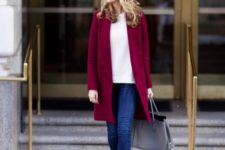 15 a white tee, blue denim and a bold burgundy coat to embrace the fall