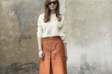 15 an amber knee skirt, a creamy sweater and nude shoes for the fall