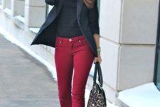 15 burgundy skinnies, a black top, a black blazer, black shoes and a leopard bag