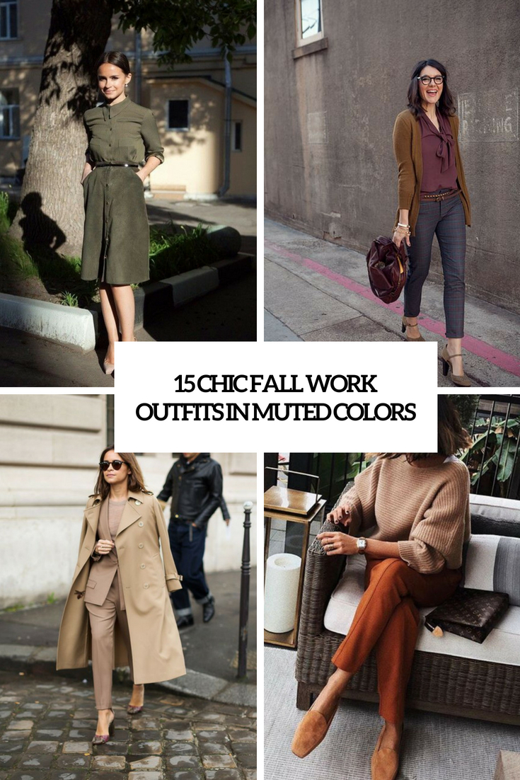 chic fall work outfits in muted colors cover