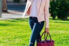 16 blue denim, a white tee, a blush leather jacket, nude studded heels and a fuchsia bag