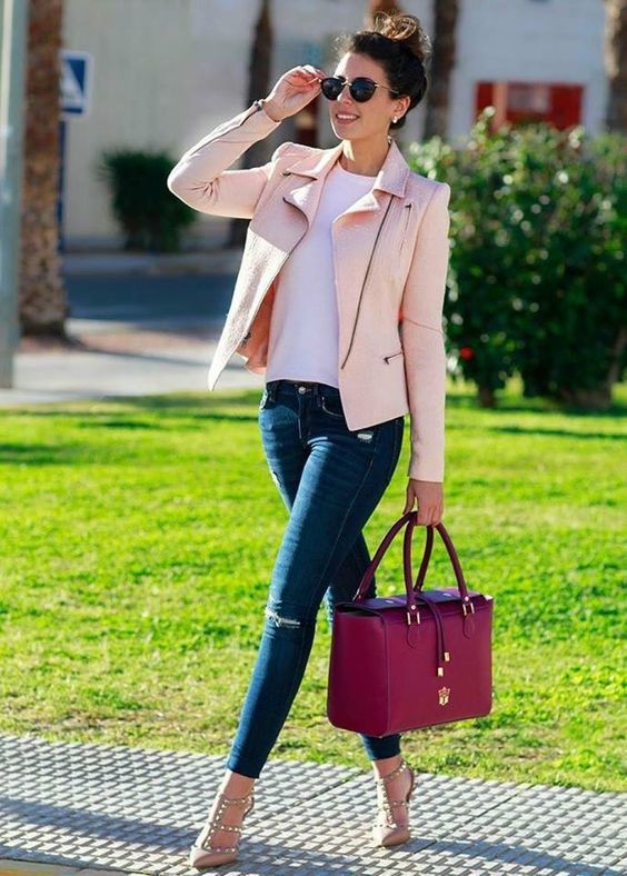 blue denim, a white tee, a blush leather jacket, nude studded heels and a fuchsia bag