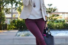 16 plum-colored jeans, leopard flats, a white top, an off-white blazer and a large bag