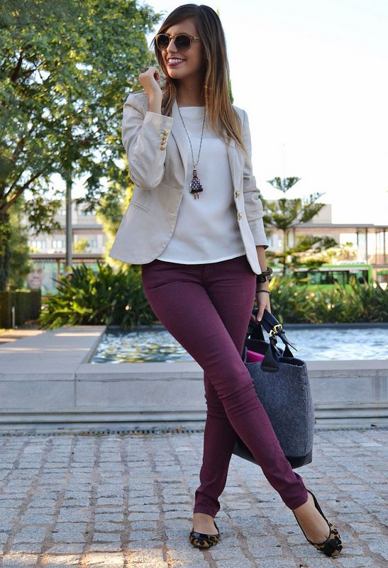 plum-colored jeans, leopard flats, a white top, an off-white blazer and a large bag