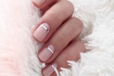 16 short glossy nude nails with silver stripes – metallic touches are very popular now