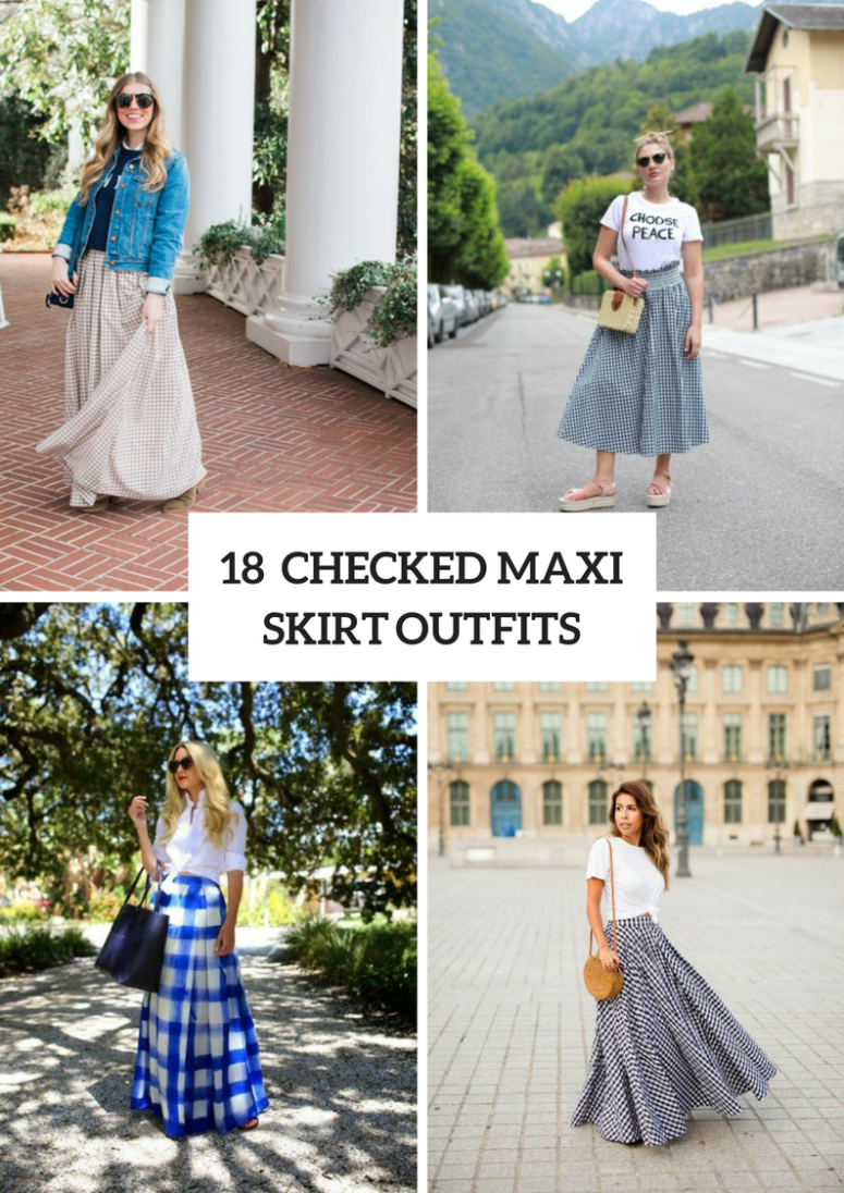 18 Outfits With Checked Maxi Skirts