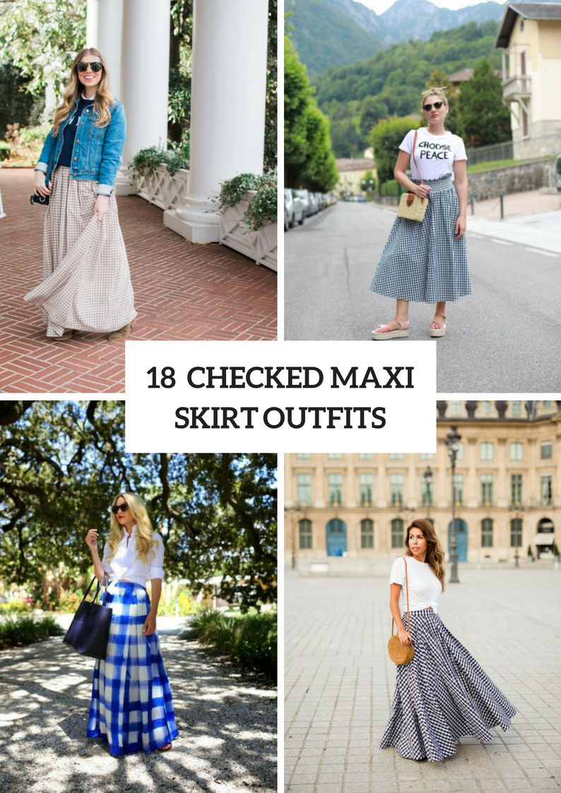 Outfits With Checked Maxi Skirts