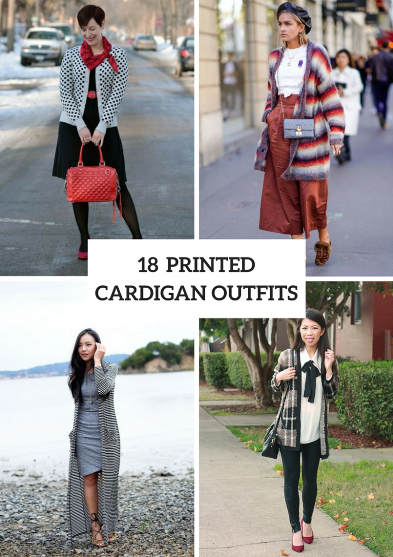 Outfits With Printed Cardigans For This Fall
