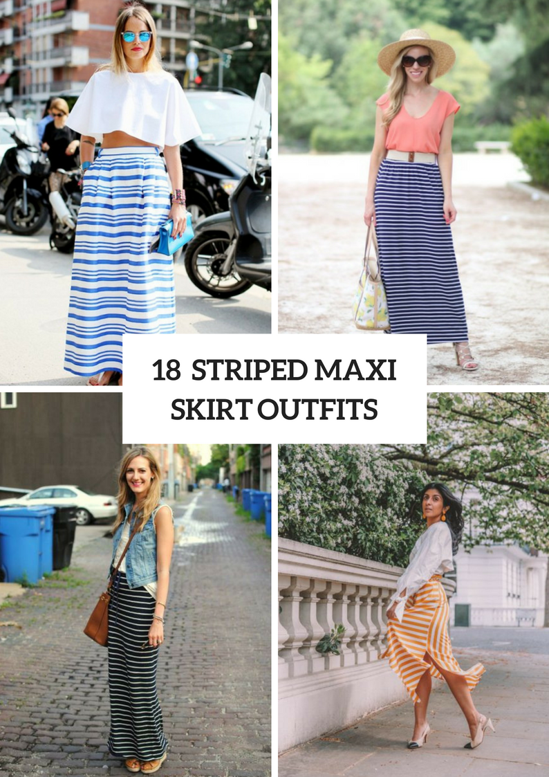 Striped Maxi Skirt Outfits For Stylish Ladies