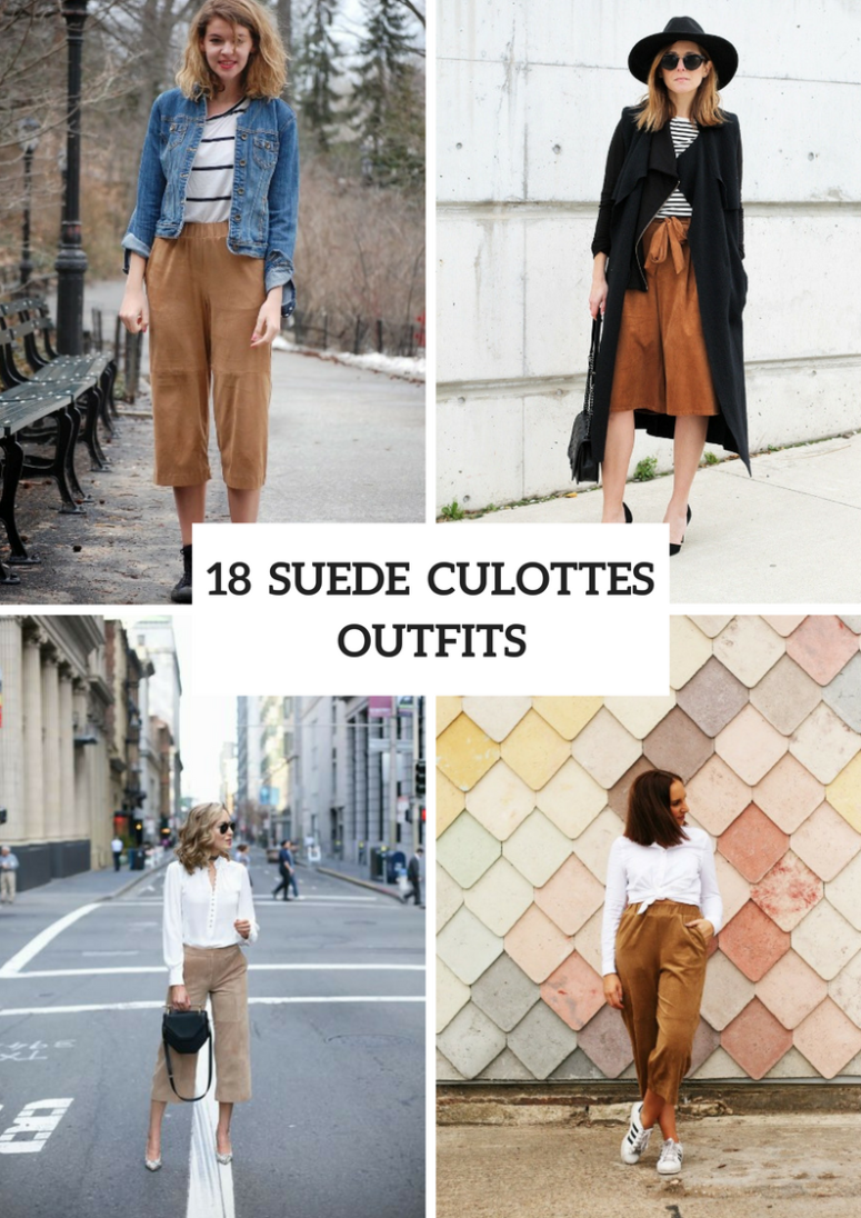 Suede Culottes Outfits For Stylish Ladies