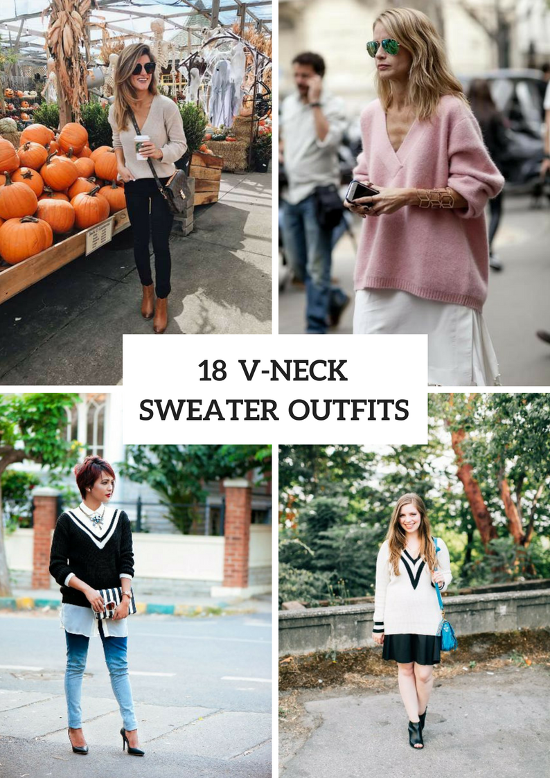 V Neck Sweater Outfits For Ladies