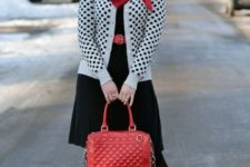 With black dress, plaid scarf, red bag and red pumps