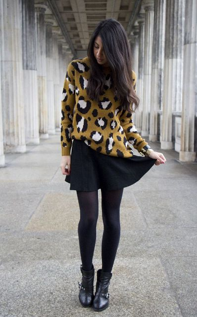 fall look with black tights