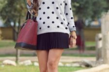 With black mini skirt, marsala tote and ankle boots