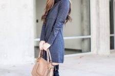 With black over the knee boots and brown bag