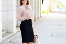 With black pencil skirt, pale pink bag and pumps