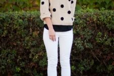 With black shirt, white skinny pants and leopard shoes