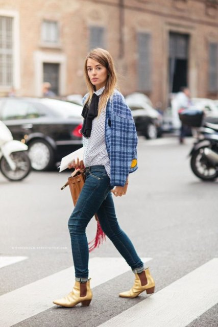 With checked jacket, brown bag, skinny jeans and golden ankle boots