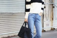 With classic jeans, black tote and ankle strap flats