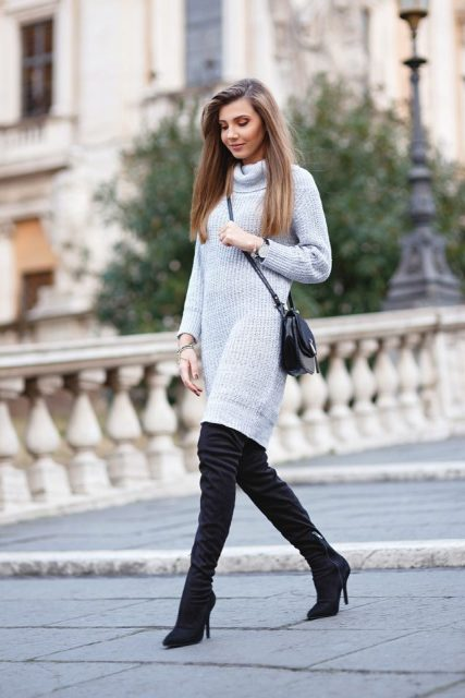 With crossbody bag and over the knee boots