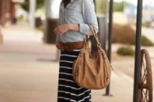With denim shirt, brown belt, flat sandals and tote