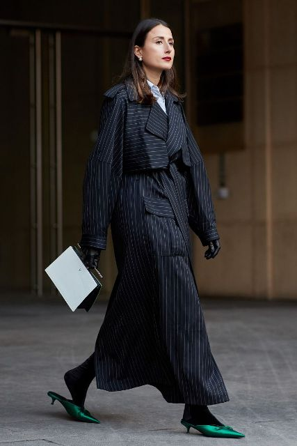 With dress, striped maxi coat and black and white bag