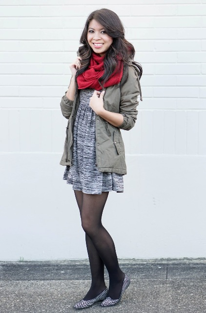 With gray dress, printed flats and red scarf