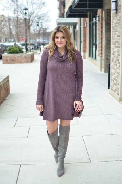 With gray suede boots and marsala bag