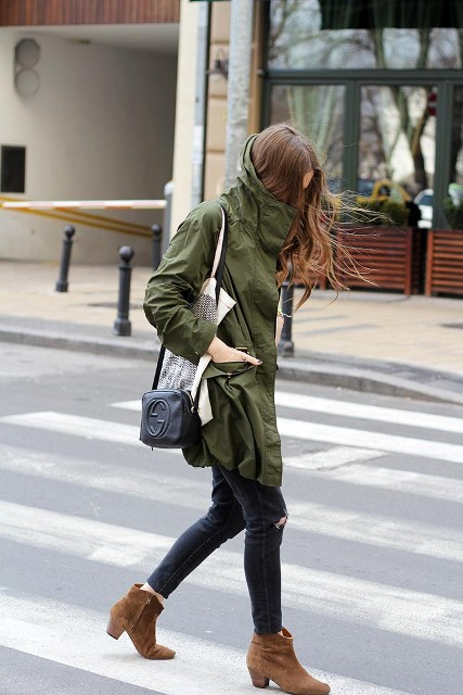 With jeans, ankle boots and small bag