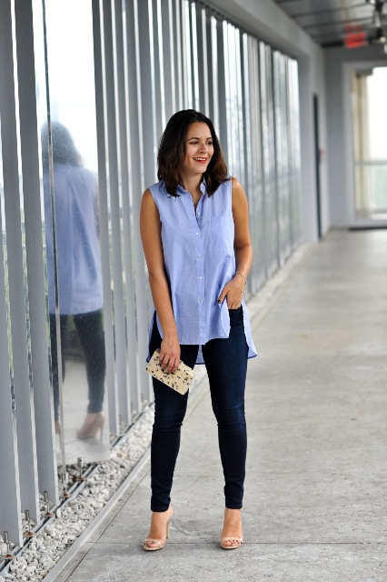 With jeans, beige high heels and printed clutch