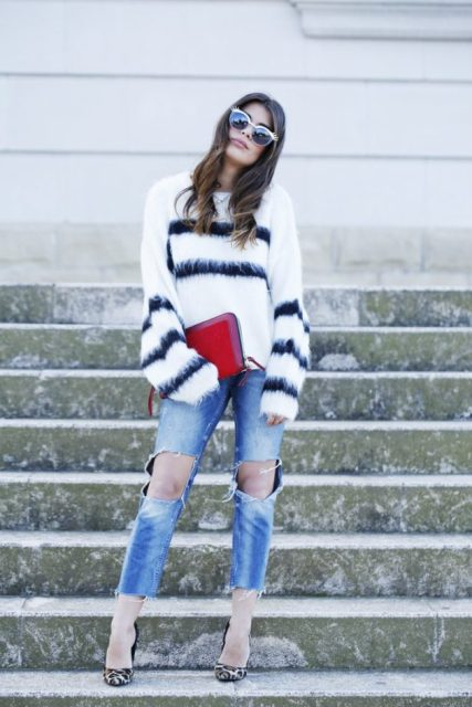 With jeans, leopard pumps and red clutch