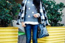 With jeans, pale pink shoes, black bag and plaid coat