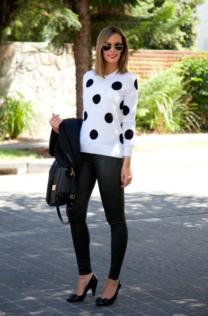 With leggings, black pumps, jacket and black bag