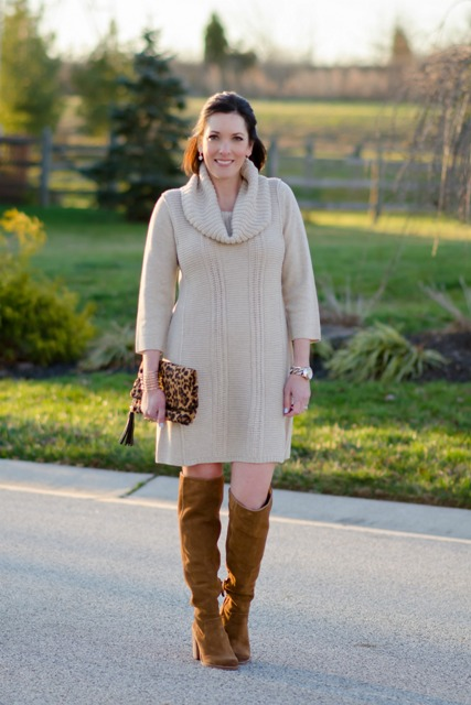With leopard clutch and brown boots