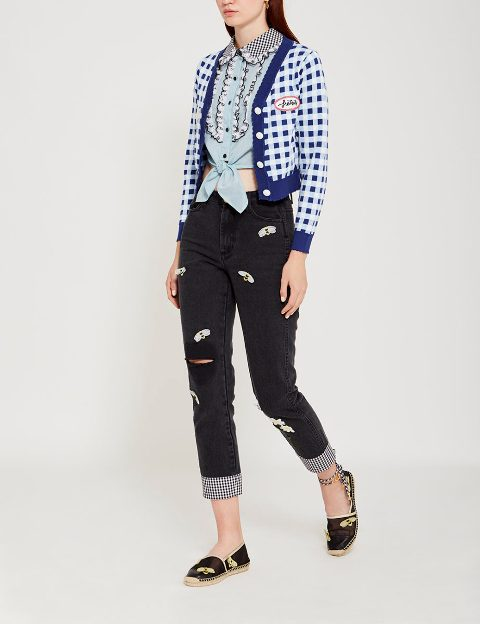 With light blue crop blouse, cuffed pants and espadrilles