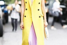 With lilac maxi dress and yellow maxi vest