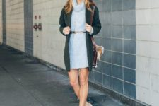 With metallic belt, emerald cardigan, fur bag and beige ankle boots