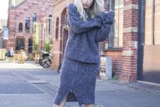 With midi skirt and oversized sweater