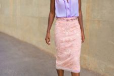 With mint green pumps and pale pink lace skirt