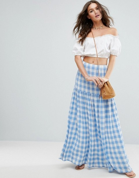 With off the shoulder crop top, crossbody bag and flat sandals