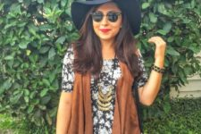 fall look with a wide brim hat