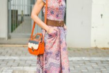 With printed midi dress, belt and unique bag