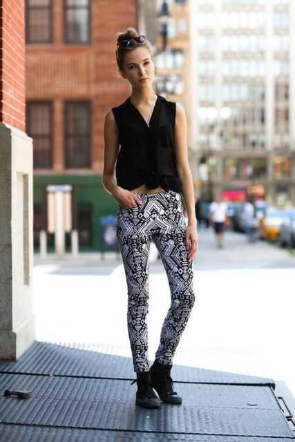 With printed skinny pants and black ankle boots
