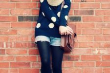 With scarf, denim shorts, black tights, brown bag and flat shoes