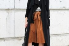With striped shirt, black midi coat, pumps, wide brim hat and chain strap bag