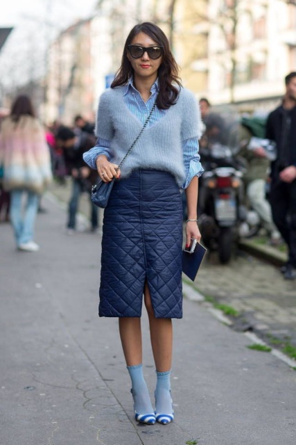 With striped shirt, chain strap bag, navy blue skirt, light blue socks and striped shoes