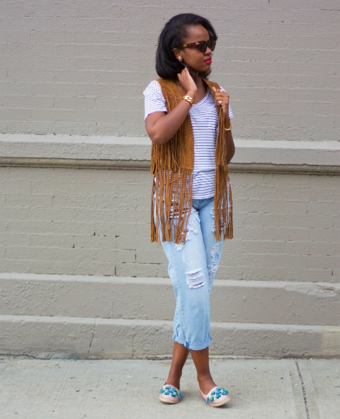 With striped shirt, light blue jeans and flats