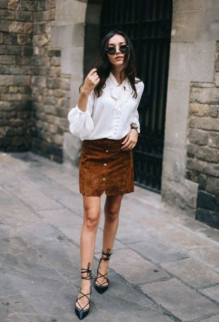 With suede mini skirt and lace up shoes