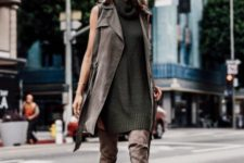 suede dress fall outfit